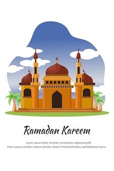 Flat cartoon mosque at ramadan kareem cartoon illustration