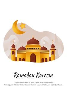 Flat cartoon mosque at ramadan kareem illustration