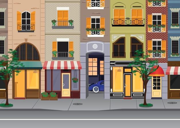 Flat cartoon multicolor colorful historic buildings city town paris