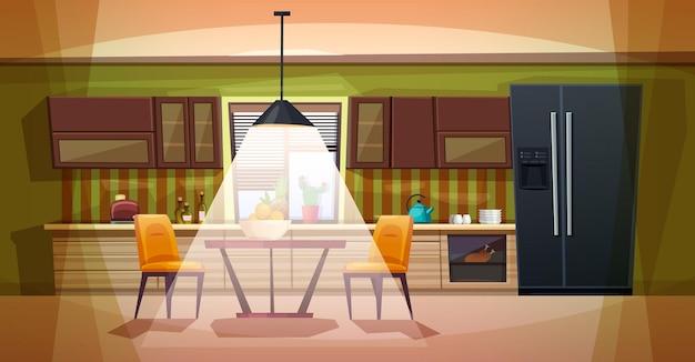 家具付きキッチンのフラット漫画。ダイニングエリア付きの居心地の良いキッチンインテリア。テーブル、ストーブ、食器棚、食器、冷蔵庫。