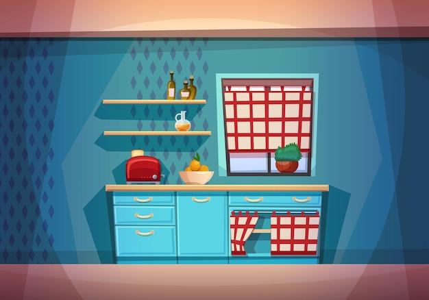 Плоский мультфильм кухни с мебелью. уютный интерьер кухни с плитой, шкафом, посудой, холодильником.