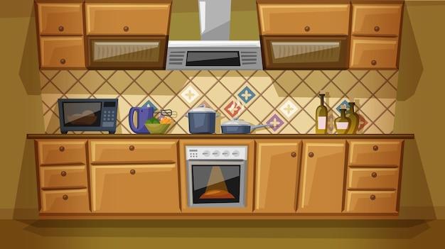 Плоский мультфильм кухни с мебелью. уютный интерьер кухни с плитой, шкафом, посудой и микроволновой печью.