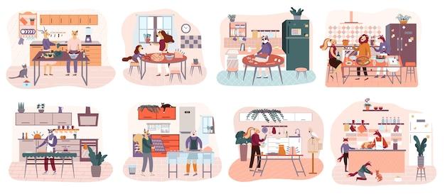 Плоский мультфильм людей, готовящих на кухне, сервировочный стол, обедать вместе, есть пищу.