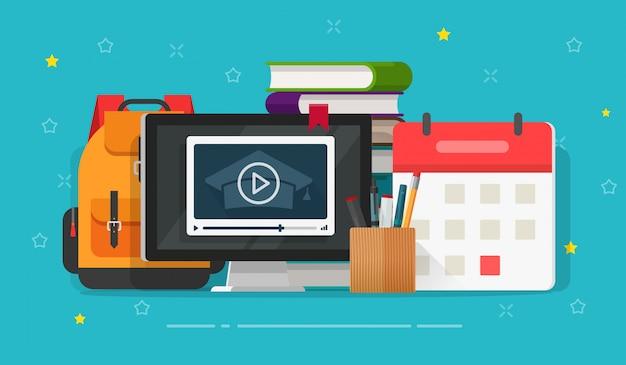Flat cartoon online web courses or video study via web
