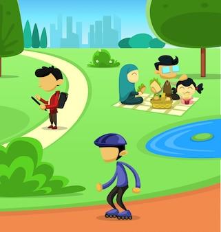 Flat cartoon park family sport activity illustration