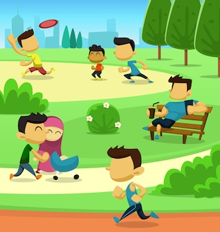 플랫 만화 공원 가족 청소년 활동 그림