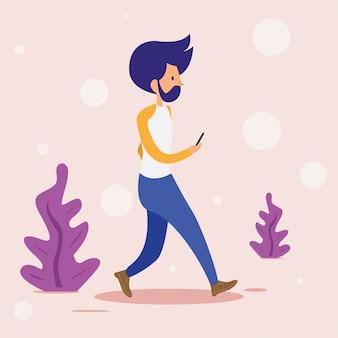 Flat cartoon people walking while playing smartphone