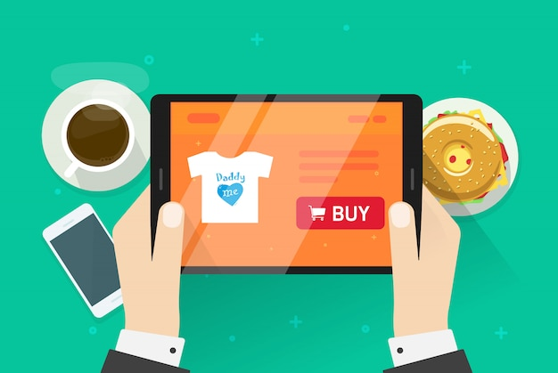 Flat cartoon person buying online on internet shop or ecommerce store illustration