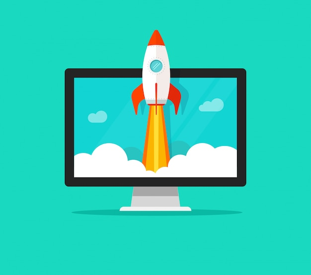 Flat cartoon quick rocket launch or startup and computer or desktop pc vector illustration