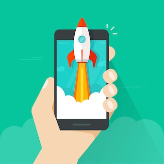 Flat cartoon quick rocket launch or startup on mobile phone or cellphone in hand