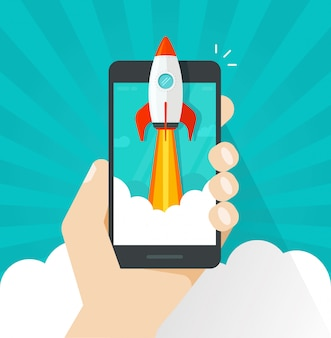 Flat cartoon quick rocket or rocketship launch from mobile phone or cellphone