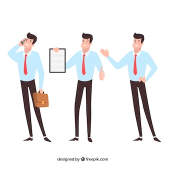 Flat cartoon salesman in different positions