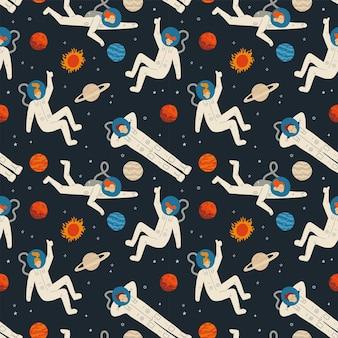 宇宙の要素を持つフラットな漫画のシームレスなパターン銀河宇宙飛行士の星月と惑星