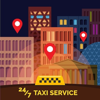 Flat cartoon style city with yellow taxi sign and location marks