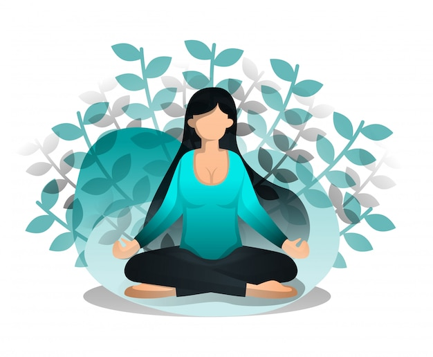 Flat cartoon style of girl sits in lotus position