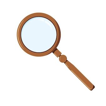 Плоский мультяшный стиль увеличительное стекло значок вектор дизайн лупа объект для вашего проекта.