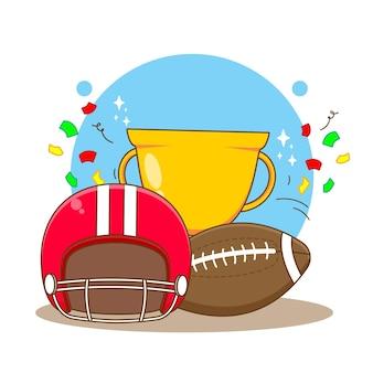 ゴールドトロフィーヘルメットとラグビーボールアメリカンフットボールのフラット漫画スタイル