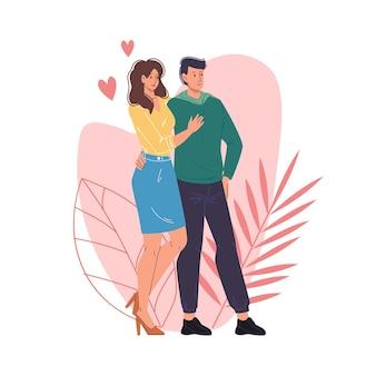 一緒に質の高い時間を楽しんでいる恋人たちのフラット漫画スタイル