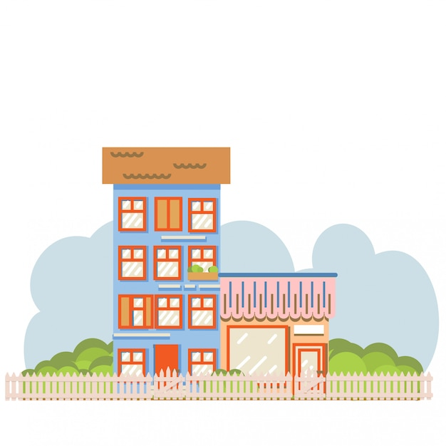 Flat cartoon style vector illustration city street