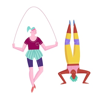 Flat cartoon style women doing yoga and training with a jumping rope