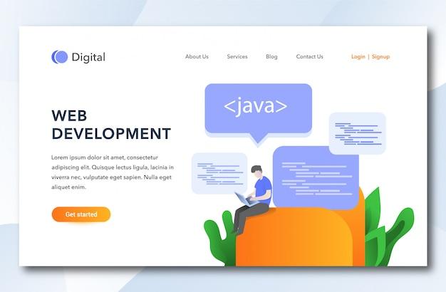 Flat cartoon web development landing page.