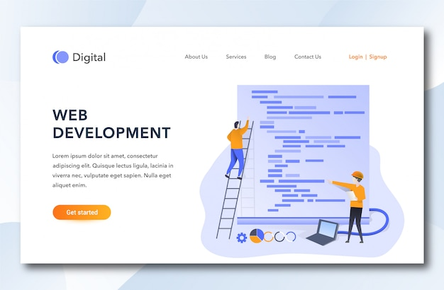 Flat cartoon web development landing page.