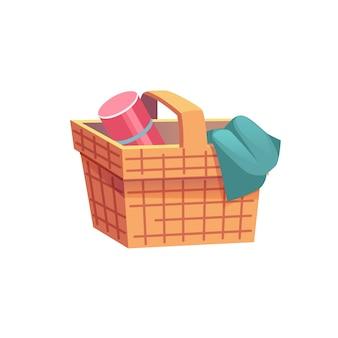 フラット漫画籐ピクニックバスケット、夏時間屋外レクリエーションベクトルイラストコンセプト