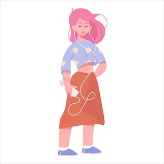 スマートフォンとフラット漫画の若い女性、カジュアルなファッショナブルな服装のピンクの髪のかわいい現代の女の子は、ヘッドフォンのイラストで音楽を聴きます