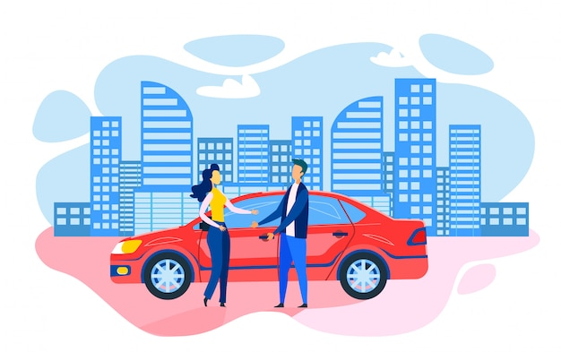 Мужчина женщина стоит возле припаркованного автомобиля flat cartoon