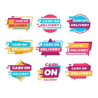 Flat cash on delivery badges set