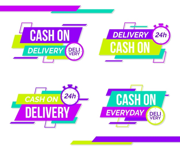 Flat cash on delivery badges set