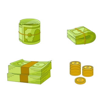 Flat cash money pile, stack, gold coin set