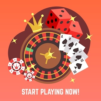 Flat casino gambling  concept set with win money jackpot