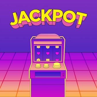 Flat casino machine неоновый вектор