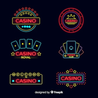 Flat casino neon sign collection