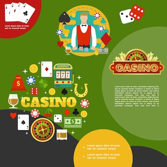 Flat casino and poker template with croupier card suits glasses of whiskey money bag slot machine horseshoe dices chips roulette
