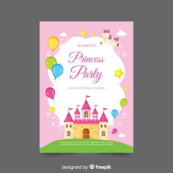 Flat castle princess party invitation template