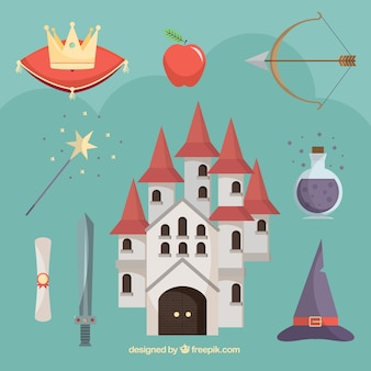 Flat castle with fairy tales elements