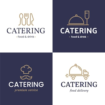 Flat catering logo template collection