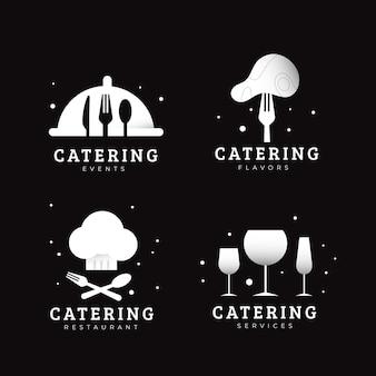 Collezione di modelli di logo per ristorazione piatta