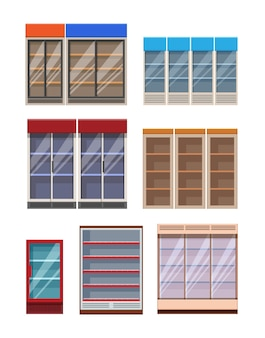 Flat catroon style empty supermarket shelves and fridges templates