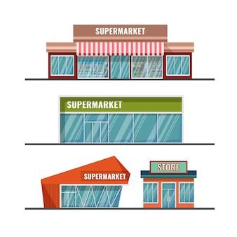 다양한 디자인의 평평한 catroon 스타일 슈퍼마켓 외관