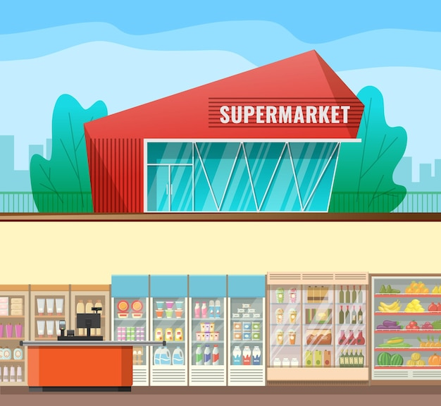 Flat catroon style supermarket exterior with view of the interior with shelves and fridges