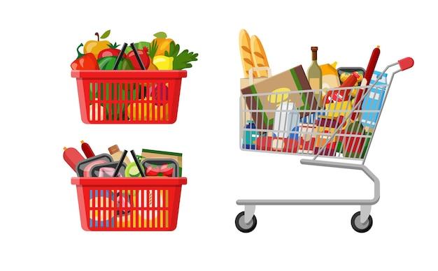 Плоский супермаркет в стиле catroon с пластиковыми красными корзинами и металлической коляской, полной продуктов