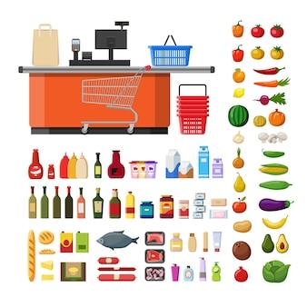 Плоский супермаркет в стиле catroon с продуктами