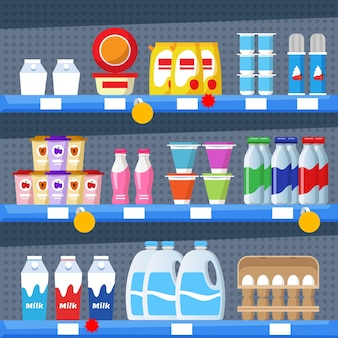 Плоские полки супермаркетов в стиле catroon, загруженные товарами