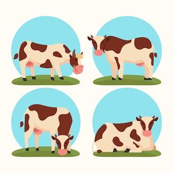 Плоская коллекция крупного рогатого скота Premium векторы