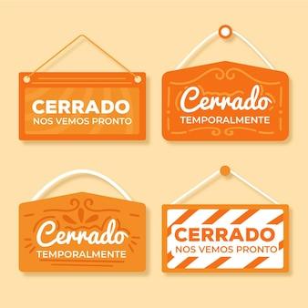 Flat cerrado signboard collection