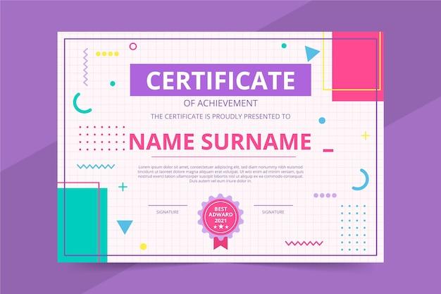 Flat certificate of achievement template