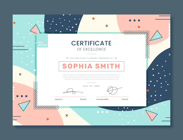 Flat certificate of excellence template